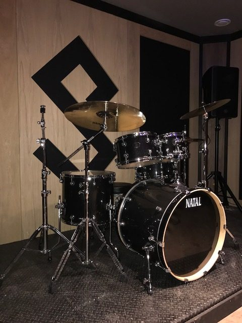 Drum kit on custom platform